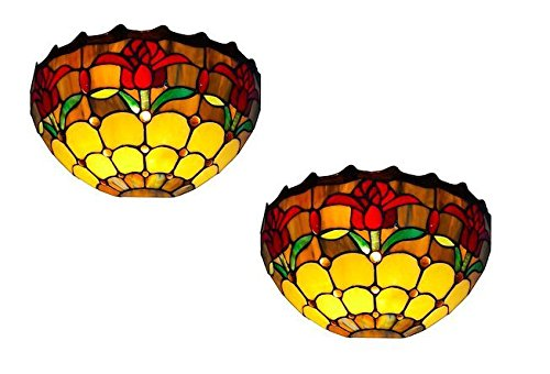Tiffany Style Stained Glass Tulips Wall Sconce