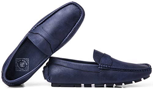 Gallery Seven Driving Shoes for Men - Casual Moccasin Loafers - Steel Blue - US-12D(M)|UK-11.5|EU-45]()