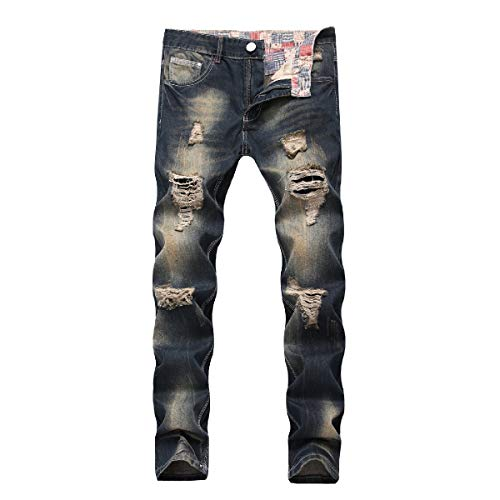 (RDHOPE-Men Big and Tall Stitch Trousers Holes Stonewashed Racer Jeans Denim Blue 37)