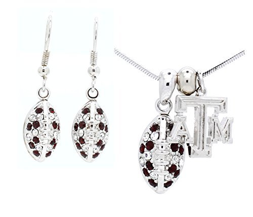 - TEXAS A&M FOOTBALL NECKLACE AND EARRING SET MINI - GARNET AND CLEAR CRYSTALS - AGGIES