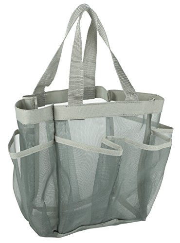 (7 Pocket Shower Caddy Tote, Grey - Keep your shower essentials within easy reach. Shower caddies are perfect for college dorms, gym, shower, swimming and travel. Mesh allows water to drain easily.)