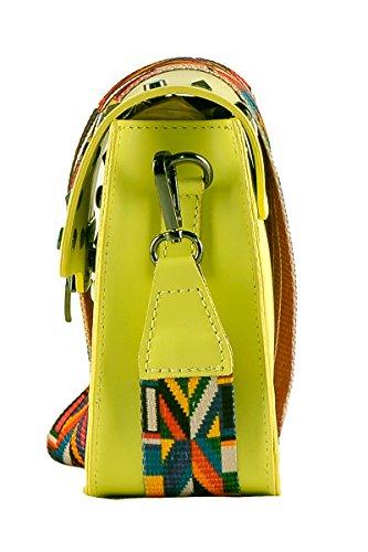 bandoulière en main tissu crampons Made et BORDERLINE 100 petit Citron Italy in coloré femme ARIANNA cuir en sac avec à 6aFw8