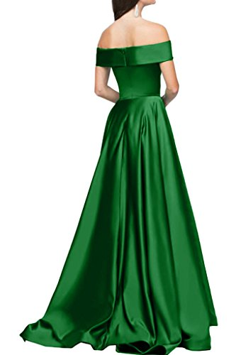 ivyd ressing Mujer Modern U de pico largo línea satén a fiesta vestido Prom vestido fijo para vestido de noche Verde