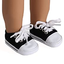 """AGD Palace ® for 18"""" American Girl Doll Clothes Sports Casual Black Tie-up Shoes Boots"""