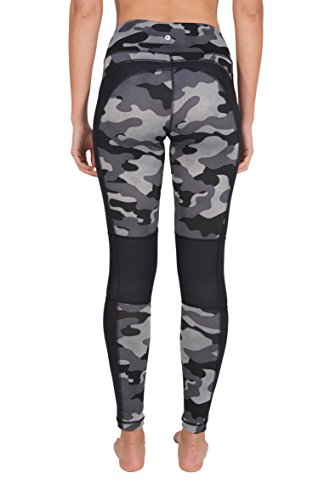 90 Degree By Reflex Etched Camo Print Workout Leggings - Grey - Small