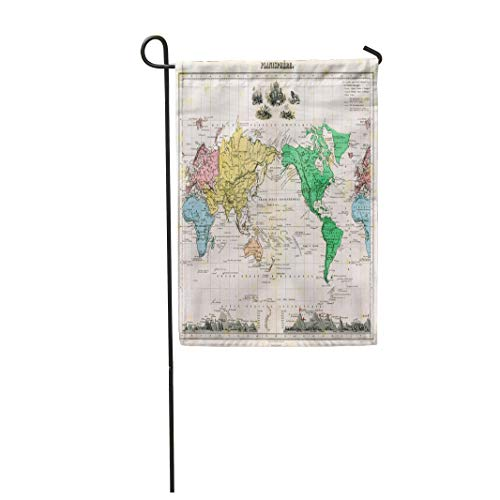 Tarolo Decoration Flag Vintage Antique 1875 Map of World Old City Atlas Border Political Thick Fabric Double Sided Home Garden Flag 12