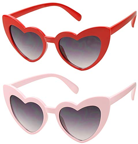 ShadyVEU - Trendy Kids Heart Shaped Love Colorful Girls Toddlers Ages 2-6 Yrs. Oversize Sunglasses (2-Pack Red/Pink, Black Lens)