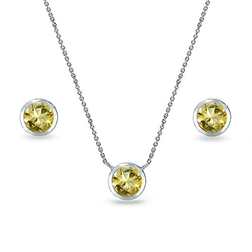 Sterling Silver Citrine 5mm Round Bezel-Set Solitaire Small Dainty Choker Necklace and Stud Earrings Set for Teen Girls