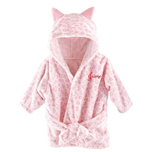 Personalized Baby Bathrobe -Custom Monogram/Name Embroidered Gift/Present/Infant/Baby Shower or Birth (Pink Leopard)]()