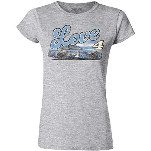Checkered Flag Ladies Kevin Harvick 2019 Love 4 Car Womens NASCAR T-Shirt (2XLarge - Misses 20/22) Grey