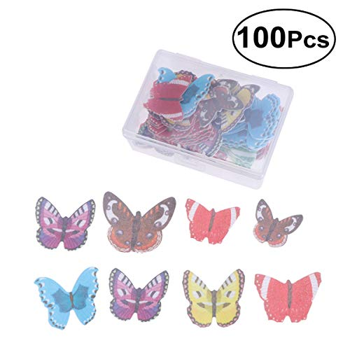 BESTONZON Set of 100 Edible Wafer Paper Butterfly CakeCupcake Toppers Food Decoration Assorted Colour