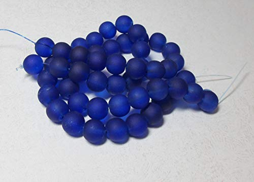 25 Frosted Sea Glass Round Beads Matte - Cobalt Blue 10mm