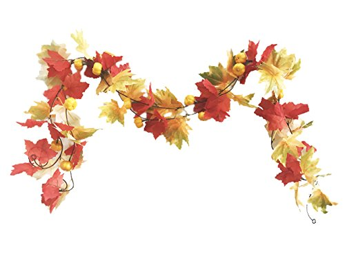 Crt Gucy 2 Strands 13.12 FT Artificial Autumn Vines With Mine Simulation Pumpkins Fall Maple Leaves Garland Plants For Home Room Garden Wedding Garland Outside (Fall Outside Decorations)