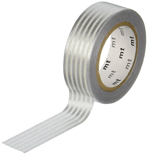 MT Washi Masking Tape, 1P Deco, Border Silver, 15mm x 10m (MT01D323)