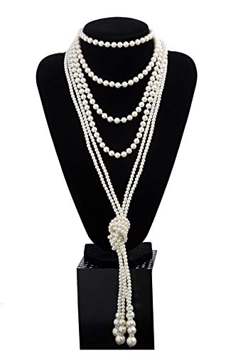 1920s Pearls Necklace Fashion Faux Pearls Gatsby Accessories Vintage Costume Jewelry Cream Long Necklace for Women (B-Knot Pearl Necklace2 + 59'' Necklace1-White) by Kathyclassic