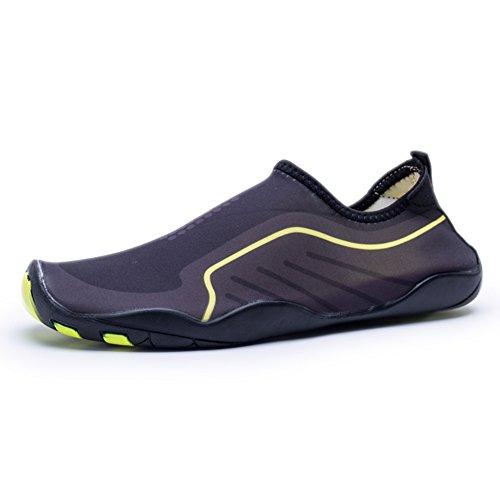 Kitleler Wasser Schuhe für Männer Frauen Barfuß Quick-Dry Aqua mit Drainage Loch für Strand Yoga Schwimmen Grau
