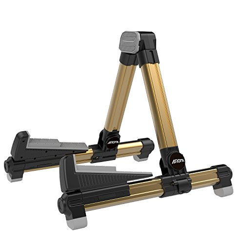 Aroma Aluminum Floor Stand Gold AGS8 Adjustable for All Types of Guitars and Basses Foldable to Easily Carry Steady Stand Safe Protection from Aroma