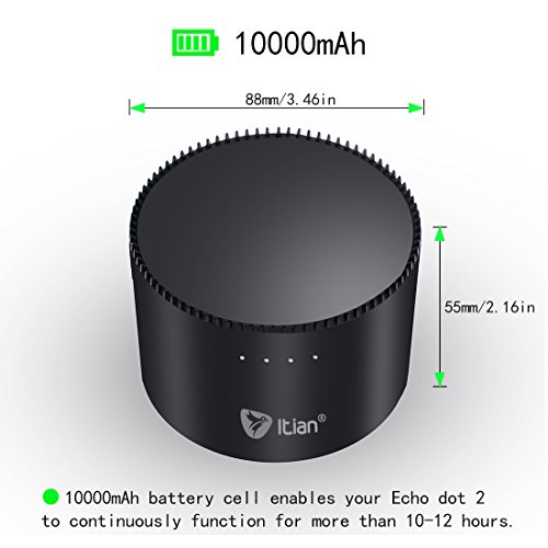 echo dot battery itian portable power bank charger. Black Bedroom Furniture Sets. Home Design Ideas