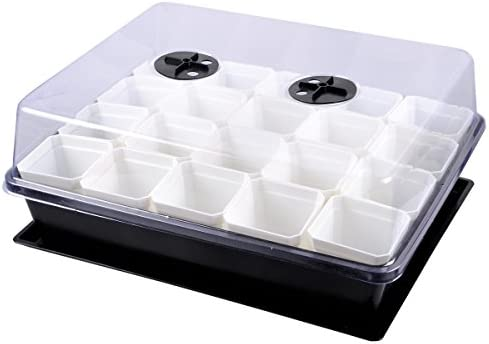 eZAKKA 37x30cm Seed Starter Tray Seedling Starter Kit Planting Propagation Trays Germination Kit Humidity Dome with 20 Pieces Square Seed Starter Pots White Pots