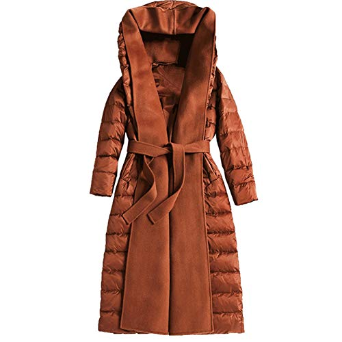 White Duck Down Thick And Warm Mid-length Over The Knee Hooded Women's Down Jacket Parka Coat