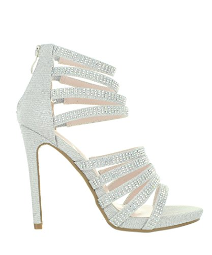 Urban Heels JANE Women's Open Toe Wedding Rhinestone Studs Sexy Straps Night Club Party Show Dress High Heel Shoes Pumps Booties (8, Silver) (Silver Rhinestone Heels)