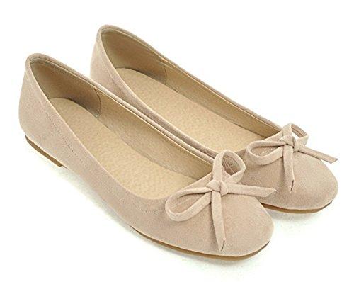 Aisun Womens Mignonne Confortable Coupe Basse Orteils Carrés Conduite Voitures Ballet Slip On Appartements Chaussures Avec Arc Beige