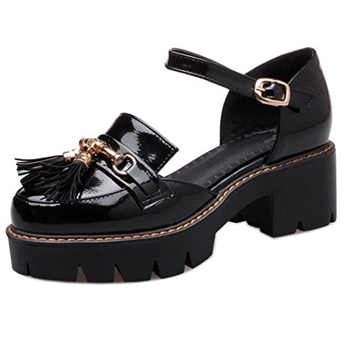 COOLCEPT Mujer Moda Correa de Tobillo Sandalias Tacon Medio Ancho Cerrado Zapatos con Fleco Tamano Negro