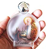 Lourdes Holy Water in round Frosted Glass Bottle with Authentic Lourdes Water from the Grotto - Large Size, 54 ml(1.9 Ounce)
