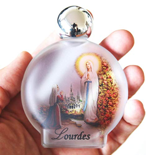 Lourdes Holy Water in round Frosted Glass Bottle with Authentic Lourdes Water from the Grotto - Large Size, 54 ml(1.9 Ounce) by Glorious Bernadette