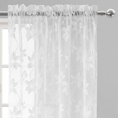 DWCN Floral Lace Sheer Curtains – Rod Pocket Window Voile Sheer Drapes for Bedroom Kitchen Short Curtains 52 x 84 inches Long, Set of 2 White Curtain Panels