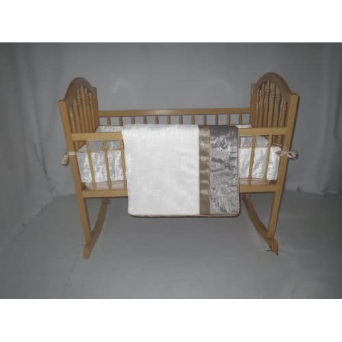 Baby Doll Bedding  Crocodile Cradle Bedding Set, White