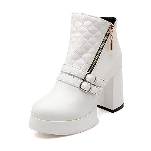 AgooLar Damen Rund Zehe Hoher Absatz Blend-Materialien Niedrig-Spitze Rein Stiefel, Weiß, 34