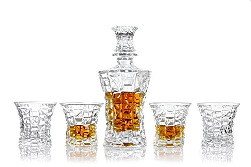 Vilmont Kepp Premium Whiskey Decanter & Glasses Gift Boxed Set of 5 | Scotch, Bourbon, Irish Whisky, Brandy, Liqueur | Dishwasher Safe Ultra Clarity 22 Fl Oz (650ml) Lead Free by Vilmont Kepp