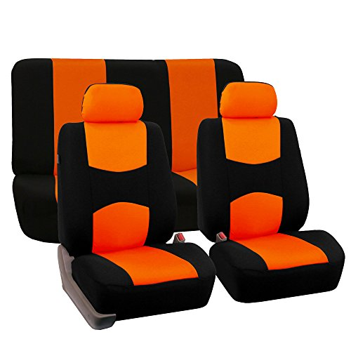 (FH Group FH-FB050112 Full Set Flat Cloth Car Seat Covers Orange/Black Color- Fit Most Car, Truck, SUV, or Van)