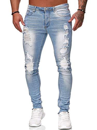 Mens Ripped Jeans Slim Fit Skinny Distressed Destroyed Biker Moto Fashion Stretch Denim Pants (Best Fitting Mens Jeans 2019)