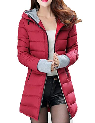 Coat Coat Wine Cotton Warm Winter Slim for Red Overcoat Women's Autumn Jacket Hooded Casual Fit BESBOMIG Long wzqEZ5F