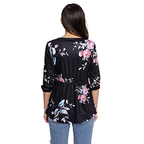 YOUJIA Mujeres túnica Camisetas de manga 3/4 Floral corte imperio Bandage Cross Criss Shirts Tops Blusa #3 Negro