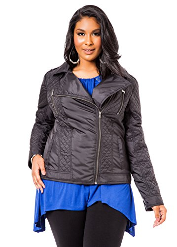 Ashley Stewart Women's Plus Size Quilted Motorcycle Jacket - Size: 12, Color: Black