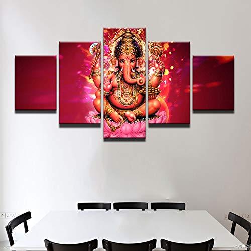 Ganesh Elephant Head - SHUII Wall Art Canvas Poster HD Printed 5 Pieces Tibetan Ganesh Painting for Living Room Home Decor Elephant Head God Pictures 30x40cm 30x60cm 30x80cm