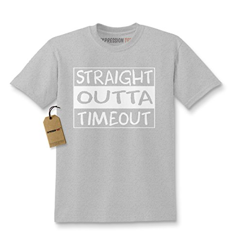 - Expression Tees Kids Straight Outta Timeout T-Shirt Medium Heather Grey