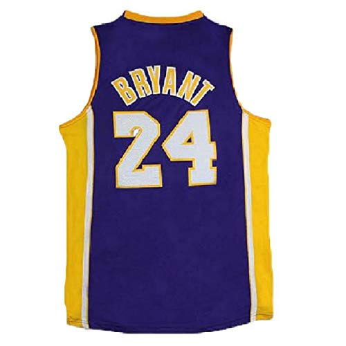 Kobe Bryant Basketball - Mens Kobe Jersey Los Angeles 24 Bryant Jerseys Basketball Black and Purple Jersey(S-XXL) (M, Purple)
