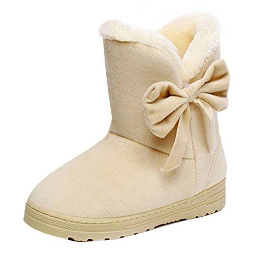 Winter Classic Slip Boots Winter Boots Fur Decration Ankle Women's Flats Bow Boots Elegant Beige Boots USdfBBqHn
