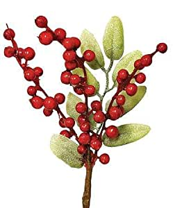 Package of 6- Christmas Red Faux Holly Berry Holiday Floral Pick with Green Leaves