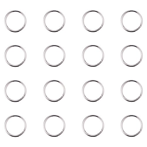 PH PandaHall 260Pcs Brass Jump Rings Close but Unsoldered Silver 10mm Diameter Jewelry Making Findings ()
