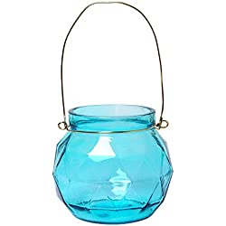 Hosley Set of 4, 4.75'' Aqua/Blue Geo Glass Lanterns. Ideal for Weddings, Parties and Special Events. W1