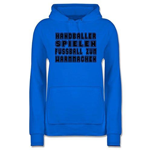 Hoodie Handball Zum Damen Fußball Warmmachen Himmelblau Spielen Handballer Shirtracer -