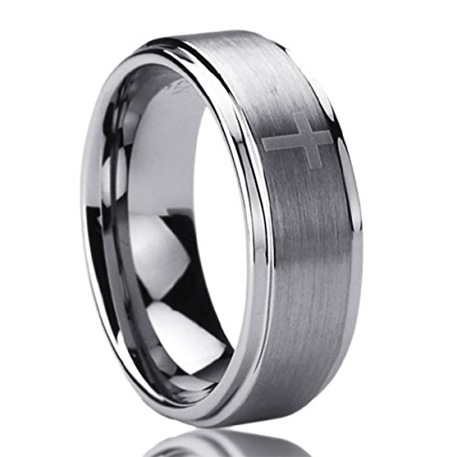 8MM Titanium Mens Womens Rings Laser Etched Cross Pattern Comfort Fit Wedding Bands SZ: 8 (Laser Etched Cross)