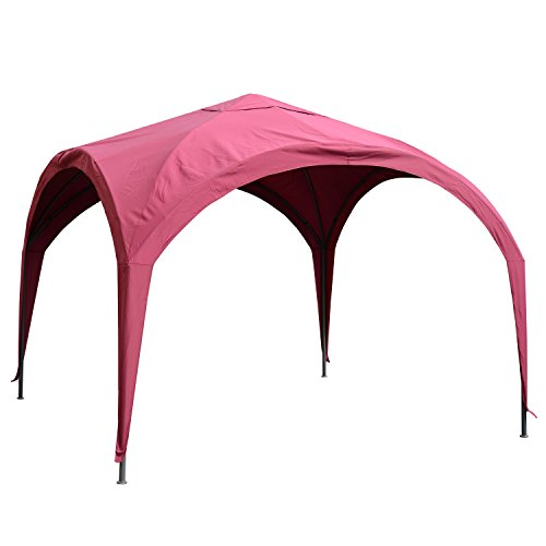 Outsunny 10' x 10' Outdoor Portable Dome Canopy Tent Sunshade Cover Durable Patio - Wine Red