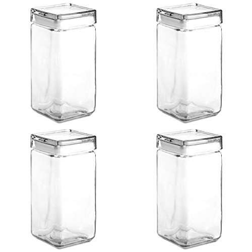 Anchor Hocking Stackable Food Glass Storage Jar Airtight Canister Containers 2 quarts, Set of 4