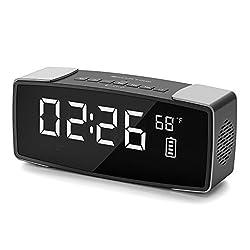 SMARTRO P2 Alarm Clock Bluetooth Speaker, Dual Loud Alarm Clocks Radio for Bedrooms, Bedside,Heavy Sleepers, 7 Large LED Display, Digital FM Radio, Stereo Sound, Snooze, AC& Battery Operated